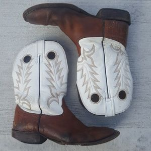 FOR REPAIR Larry Mahan White Brown Leather Boots